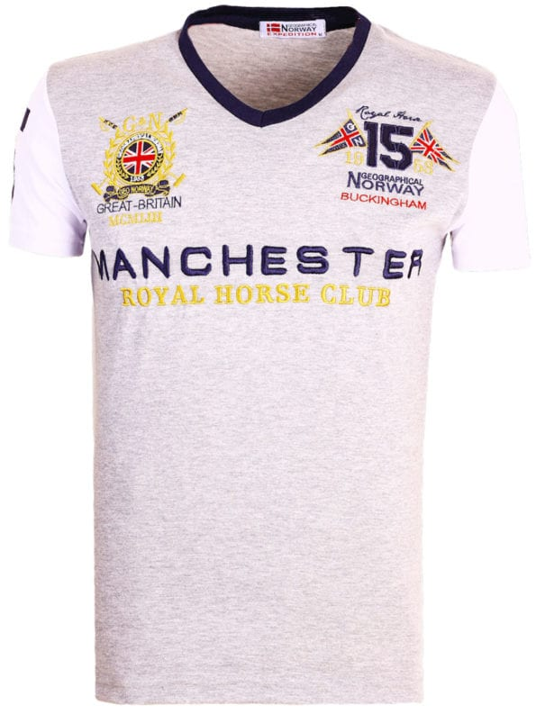 Geographical Norway Shirts t-shirt Grijs Jingston Manchester Buckingham Great Britain (2)