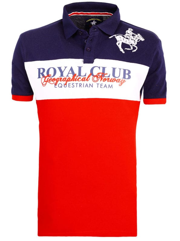 Geographical Norway poloshirt korte mouw Royal Club Kice Rood met paard (1)