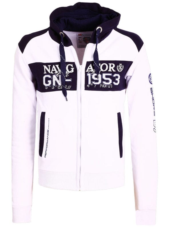 Geographical Norway Vest Wit Glapping met capuchon Navigator (2)